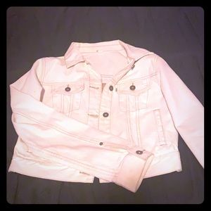 TOMS cropped white denim jacket
